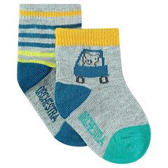 Lot de 2 paires de chaussettes assorties rayées/à motif