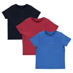 Set van 3 effen T-shirts met korte mouwen