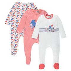 Set van 3 fantasiepyjama's met opening aangepast aan de leeftijd