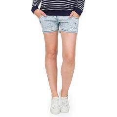 Short de grossesse en jeans avec bandeau haut et usures fantaisie