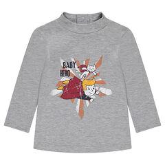 Onderhemd van jerseystof met opstaande kraag en fantasieprint