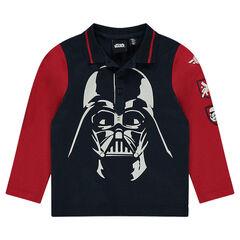 Polo met lange mouwen in twee kleuren met print van Darth Vader van Star Wars™