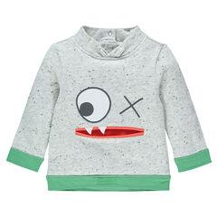 Sweatshirt in molton neps effect borduursel