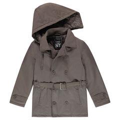 Junior - Trenchcoat van linnen met voering van jerseystof en afneembare kap