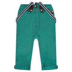 Pantalon en toile uni avec bretelles rayées amovibles