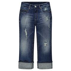 Junior - Jeans capri met used en kreukeffect