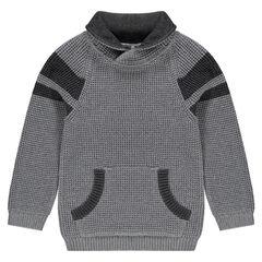 Trui van tricot met lange mouwen en kangoeroezak
