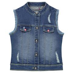 Jeansvest zonder mouwen met used effect