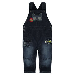 Tuinbroek in jeans met used effect en BATMAN prints