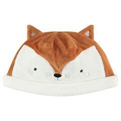 Muts van velours in de vorm van een vossenhoofd