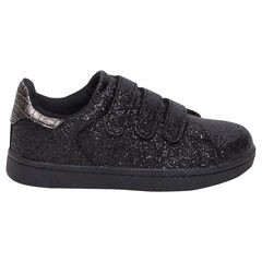 Lage sneakers met zwarte pailletjes en drie klittenbandsluitingen van maat 28 tot 38