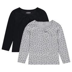 Junior - Set met 2 T-shirts met lange mouwen, effen/bedrukt