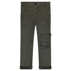Pantalon en twill avec poche et texte printé