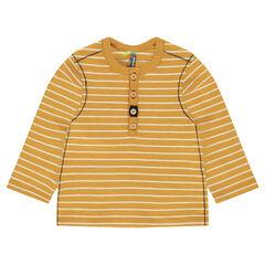 """T-shirt met lange mouwen en strepen """"all-over"""" en met Tunesische kraag"""