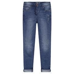 Junior - Slim-fit jeans met print en afgewassen effect