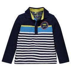 Polo manhces longues en jersey rayé avec badge patché et inscription printée au dos