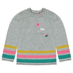 Lange trui van tricot met bouclé patches en fantasiestrepen