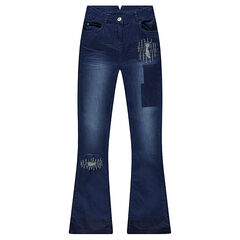 Junior - Jeans met flare en decoratief used effect