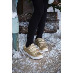 Lage sneakers met gouden pailletjes en drie klittenbandsluitingen