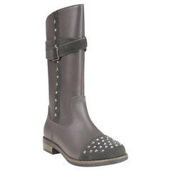 Laarzen in leder in grijze kleur met stud