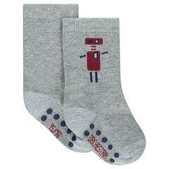 Set van 2 paar hoge matching sokken effen/met robotmotief