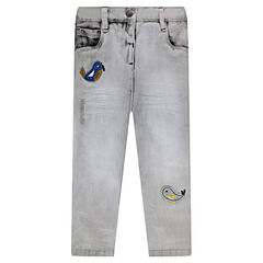 Slim-fit jeans met vogelpatches