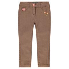 Pantalon coupe slim en twill huilé avec prints