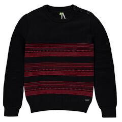 Trui in tricot in fantasiebreipatroon strepen