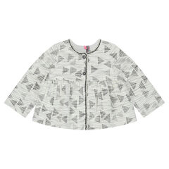 Vest met decoratief jacquardmotief en grafische print