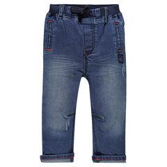 Jeansbroek used effect elastische tailleband zakken