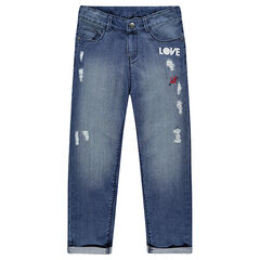 Junior - Boyfriend jeans met badges en decoratieve scheuren