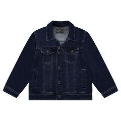 Vest van molton met used denimeffect en zakken