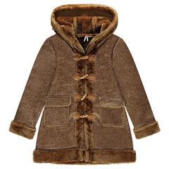 Junior - Lange mantel van omgekeerde stof met namaakbont