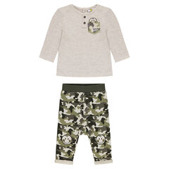 Ensemble tee-shirt manches longues et pantalon army ©Smiley