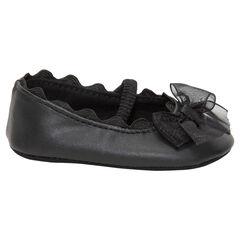 Zwarte zomerschoenen met elastiek, strik en tule