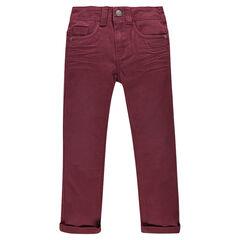 Pantalon en twill uni effet crinkle