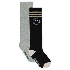 Set met 2 paar hoge sokken met ©Smiley motief van lurex