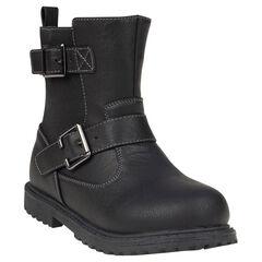 1/2 bottes aspect cuir avec élastique et boucles fantaisie
