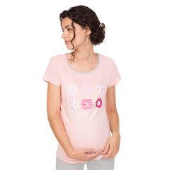 Homewear zwangerschapsshirt met korte mouwen en donutprint