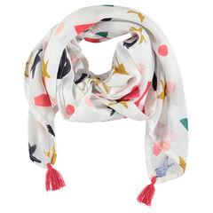 Sjaal met print en pompons