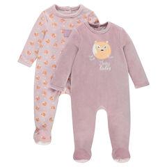 Set met 2 pyjama's van velours met opening aangepast aan de leeftijd