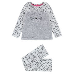 Pyjama en velours motif all-over avec chat en sherpa