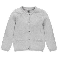Gilet in zilverkleur tricot met borduursel