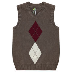 Mouwloze trui van tricot met jacquard motief