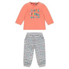 Ensemble tee-shirt printé et pantalon en molleton imprimé