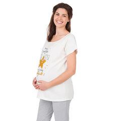 Tee-shirt homewear de grossesse print inscriptions et étoile