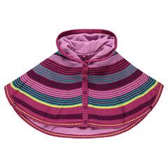 Cape à capuche en tricot rayé multicolore doublée micropolaire
