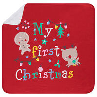 Deken van jersey- en sherpastof met print met kerstfiguren