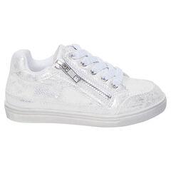 Lage witte en zilveren sneakers met veters en ritssluiting