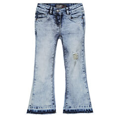 Jeans pantacourt forme trompette effet used